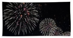 Bath Towel featuring the photograph Pink Fireworks by Lilliana Mendez
