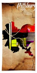Pittsburgh Map Watercolor Hand Towel by Marvin Blaine