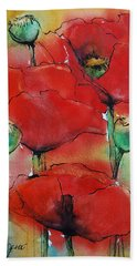 Bath Towel featuring the painting Poppies I by Jani Freimann