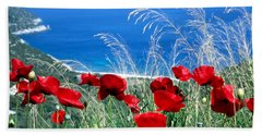 Poppy Flowers Hand Towel by George Atsametakis