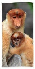 Proboscis Monkey And Baby Bath Towel