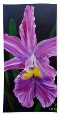Hand Towel featuring the painting Purple Orchid by Jenny Lee