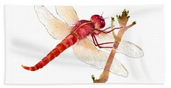 Red Dragonfly Hand Towel