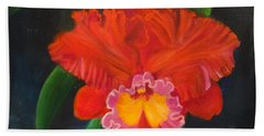 Hand Towel featuring the painting Red Orchid by Jenny Lee
