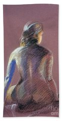 Seated Female Model Bath Towel