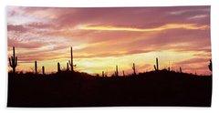 Silhouette Of Saguaro Cacti Carnegiea Bath Towel