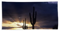 Silhouetted Saguaro Cactus Sunset At Dusk Arizona State Usa Hand Towel