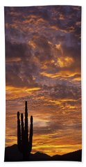 Silhouetted Saguaro Cactus Sunset At Dusk With Dramatic Clouds Bath Towel