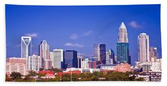 Hand Towel featuring the photograph Skyline Of Uptown Charlotte North Carolina At Night by Alex Grichenko