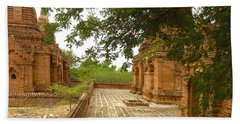 Bath Towel featuring the photograph Smaller Temples Next To Dhammayazika Pagoda Built In 1196 By King Narapatisithu Bagan Burma by Ralph A  Ledergerber-Photography