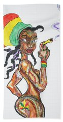Smoking Rasta Girl Bath Towel by Stormm Bradshaw