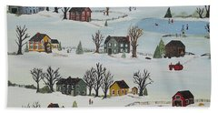 Hand Towel featuring the painting Snow Day by Virginia Coyle