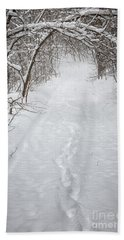 Snowy Winter Path In Forest Bath Towel