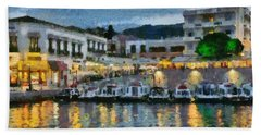 Spetses Town During Dusk Time Hand Towel