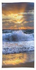 Splash Sunrise Hand Towel by Debra and Dave Vanderlaan
