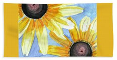 Hand Towel featuring the painting Summer Susans by Angela Davies