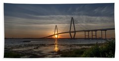 Sunset Over The Bridge Hand Towel