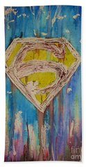 Hand Towel featuring the painting Superman's Shield by Justin Moore