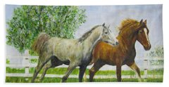 Two Horses Running By White Picket Fence Hand Towel