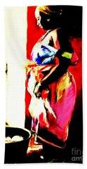 Bath Towel featuring the painting Ugunda Fish Lady by Vannetta Ferguson