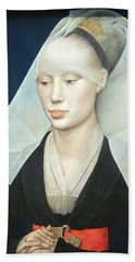 Bath Towel featuring the photograph Van Der Weyden's Portrait Of A Lady by Cora Wandel