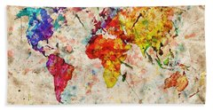 Vintage World Map Bath Towel