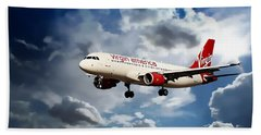 Airplanes Hand Towel featuring the photograph Virgin America Mach Daddy  by Aaron Berg
