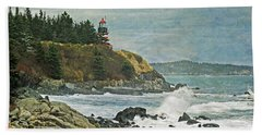 West Quoddy Head Lighthouse Hand Towel