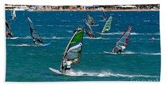 Windsurfing In Vasiliki Bay Hand Towel