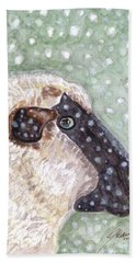Hand Towel featuring the painting Wishing Ewe A White Christmas by Angela Davies
