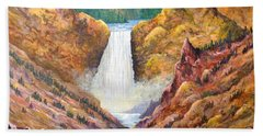 Hand Towel featuring the painting Yellowstone Falls by Lou Ann Bagnall