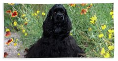 2000s Black Cocker Spaniel Puppy Dog Bath Towel