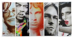 Jimi Hendrix, Kurt Cobain, And Amy Winehouse Collage - '27 Eternal' Hand Towel by Christian Chapman Art