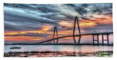 Arthur Ravenel Bridge Stormy Skies Hand Towel