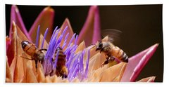 Bees In The Artichoke Hand Towel by AJ  Schibig