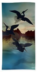 3 Black Herons At Sunset Hand Towel