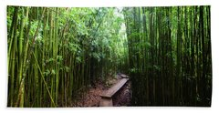 Boardwalk Passing Through Bamboo Trees Hand Towel