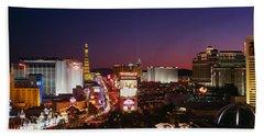 Buildings Lit Up At Night, Las Vegas Hand Towel