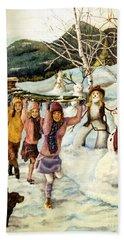Frosty Frolic Hand Towel by Linda Simon
