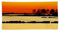 Ocean Beach Sunset Hand Towel by Carol F Austin