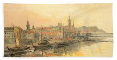 Old Warsaw - Wisla River Bath Towel