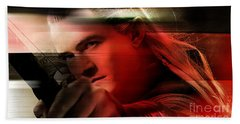Orlando Bloom Hand Towel by Marvin Blaine