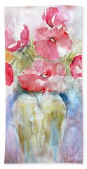 Bath Towel featuring the painting Poppies by Jasna Dragun
