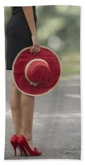 Red Sun Hat Hand Towel