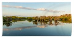 Reflection Of Trees In A Lake, Anhinga Hand Towel