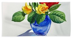 Bath Towel featuring the painting Roses by Irina Sztukowski