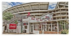 Shadow Of The Stadium Hand Towel by Scott Pellegrin