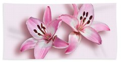 Spray Of Pink Lilies Bath Towel