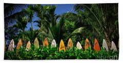 Hand Towel featuring the photograph Surf Board Fence Maui Hawaii by Edward Fielding