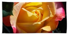 Yellow Rose Hand Towel by Catherine Gagne